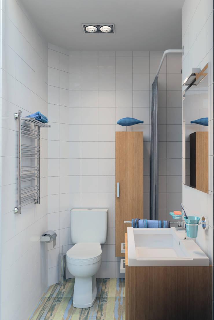 Квартира-студия в скандинавском стиле: Ванные комнаты в . Автор – Студия дизайна и декора Светланы Фрунзе