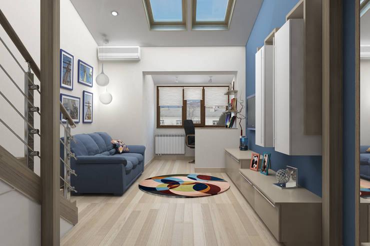 Мансардная квартира: Гостиная в . Автор – Студия дизайна и декора Светланы Фрунзе,