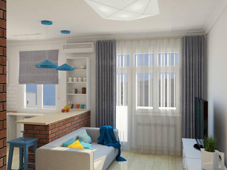 Квартира-студия в скандинавском стиле: Гостиная в . Автор – Студия дизайна и декора Светланы Фрунзе
