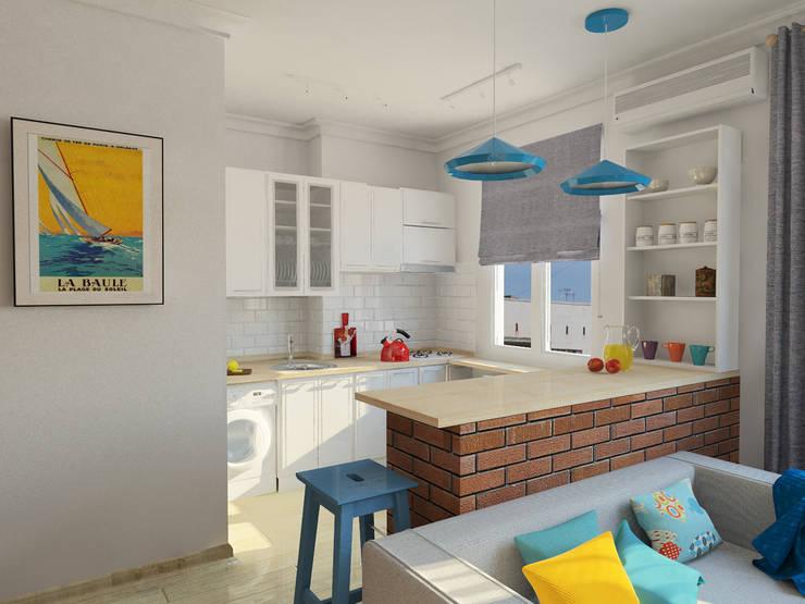 Квартира-студия в скандинавском стиле: Кухни в . Автор – Студия дизайна и декора Светланы Фрунзе