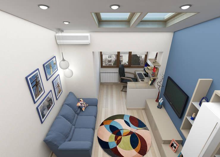 Мансардная квартира: Гостиная в . Автор – Студия дизайна и декора Светланы Фрунзе