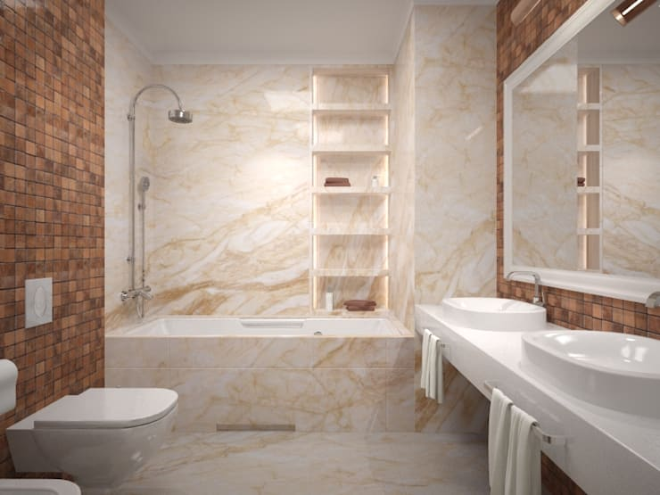 Квартира Липки 16: Ванные комнаты в . Автор – INCUBE Алексея Щербачёва