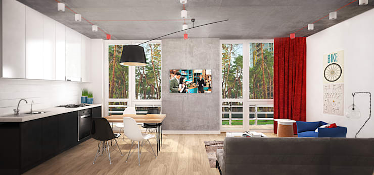 Маленькая квартира в стиле Лофт: Гостиная в . Автор – INCUBE Алексея Щербачёва, Лофт