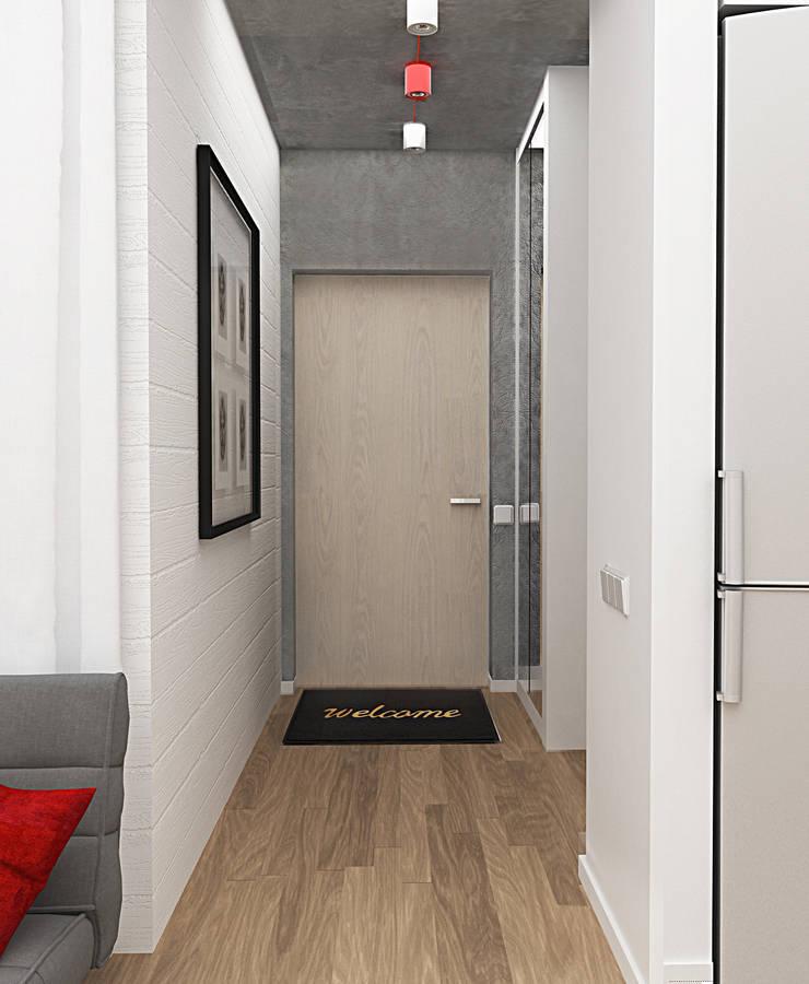 Маленькая квартира в стиле Лофт: Коридор и прихожая в . Автор – INCUBE Алексея Щербачёва, Лофт