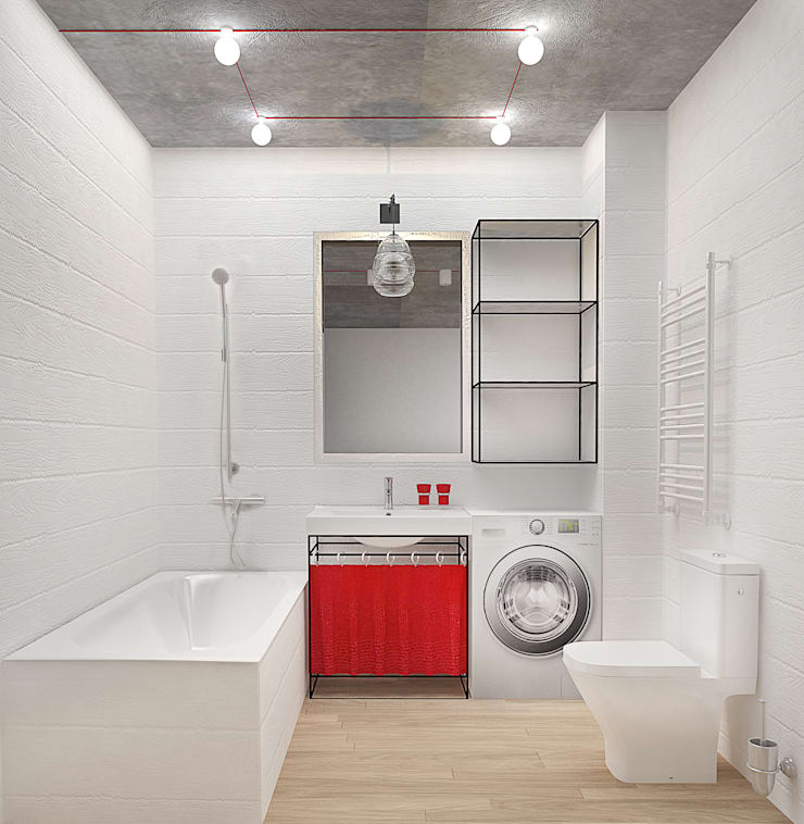 Маленькая квартира в стиле Лофт: Ванные комнаты в . Автор – INCUBE Алексея Щербачёва, Лофт