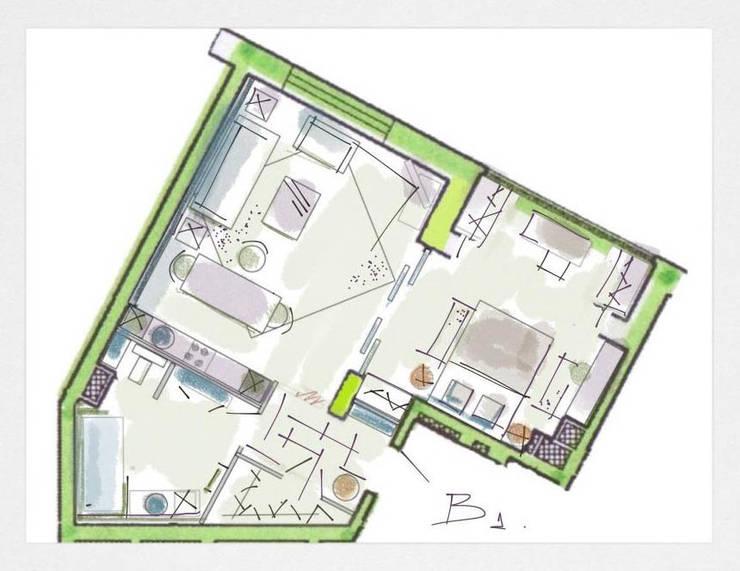 Планировка квартиры в стиле лофт. Вариант 1 :  в . Автор – Дизайн студия Ольги Кондратовой