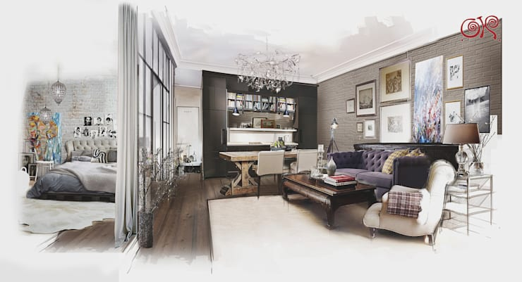 Квартира в стиле лофт: эскиз интерьеров кухни-гостиной и спальни: Гостиная в . Автор – Дизайн студия Ольги Кондратовой