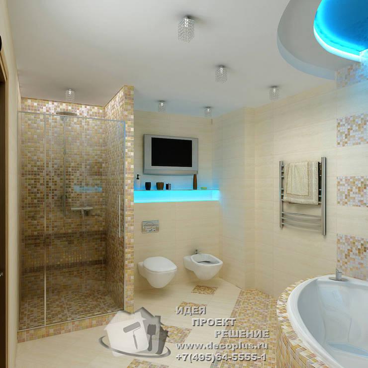 Фото интерьера санузла с мозаичной отделкой: Ванные комнаты в . Автор – Бюро домашних интерьеров