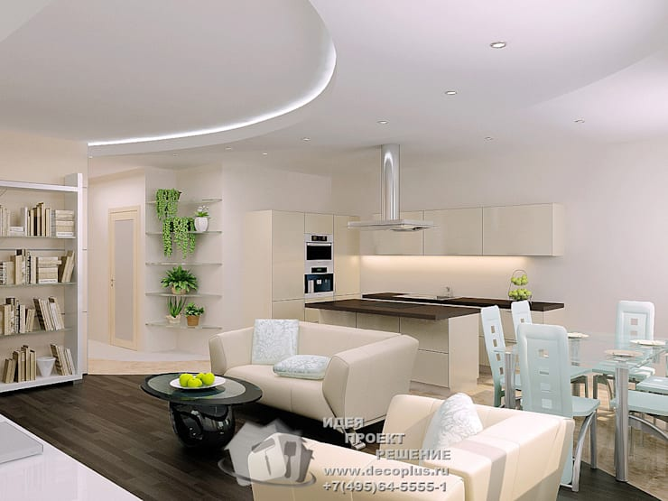 Фото интерьера гостиной в современной квартире-студии: Гостиная в . Автор – Бюро домашних интерьеров