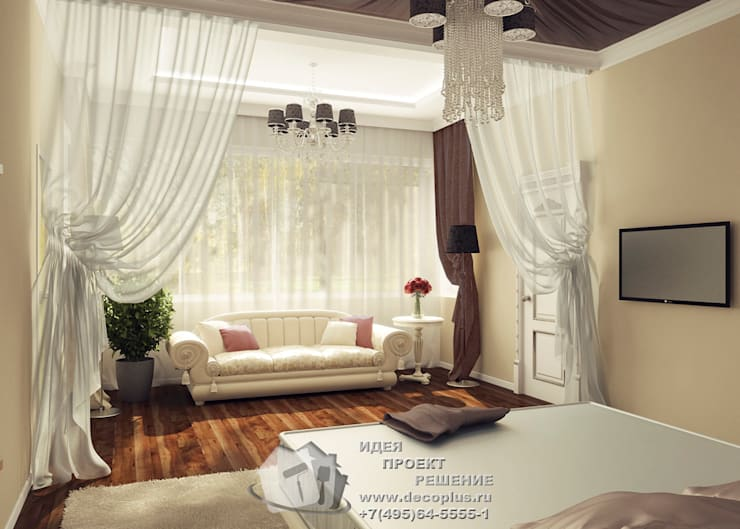 Диван и кофейный столик в интерьере спальнии: Спальни в . Автор – Бюро домашних интерьеров,
