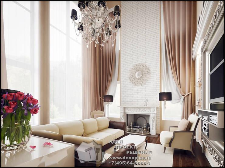 Каминная зона гостиной в доме: Гостиная в . Автор – Бюро домашних интерьеров,
