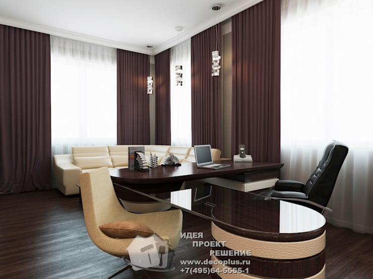 Бежево-коричневый кабинет в стиле арт-деко: Рабочие кабинеты в . Автор – Бюро домашних интерьеров,