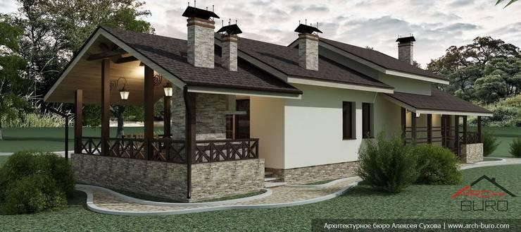 Проект одноэтажной бани из керамического блока porotherm:  в . Автор – Архитектурное бюро Алексея Сухова, Кантри