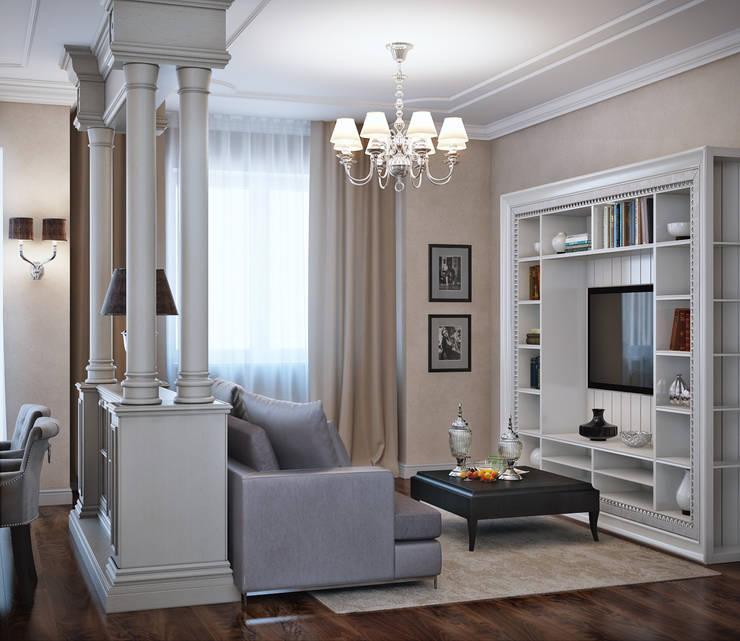 гостиная и спальня в элитной квартире, г.Казань, неоклассика: Гостиная в . Автор – EJ Studio