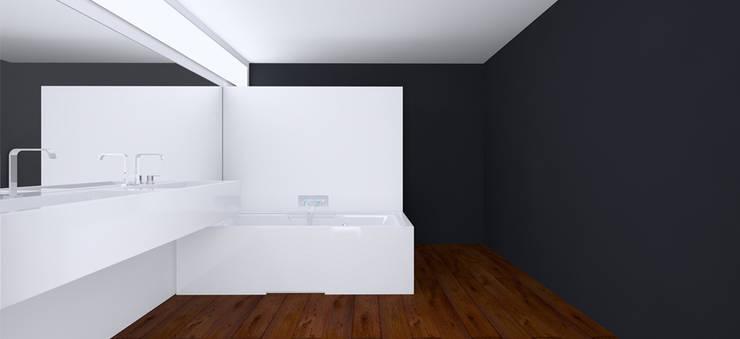 Вилла в Анапе в стиле минимализм (Анжелика Марзоева): Ванные комнаты в . Автор – Галерея интерьеров 'Angelica Marzoeva'