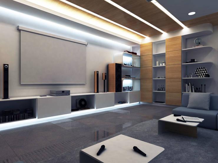 RESIDENCE VILLA INTERIOR / ALMATY: Медиа комнаты в . Автор – Lenz Architects
