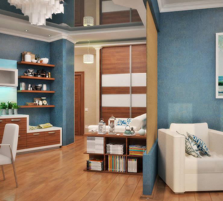 Интерьер в морском стиле - гостиная и кухня: Гостиная в . Автор – Студия дизайна Interior Design IDEAS