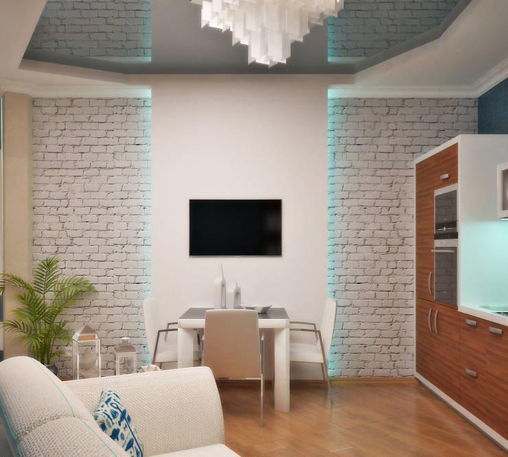 Интерьер в морском стиле - гостиная и кухня: Столовые комнаты в . Автор – Студия дизайна Interior Design IDEAS