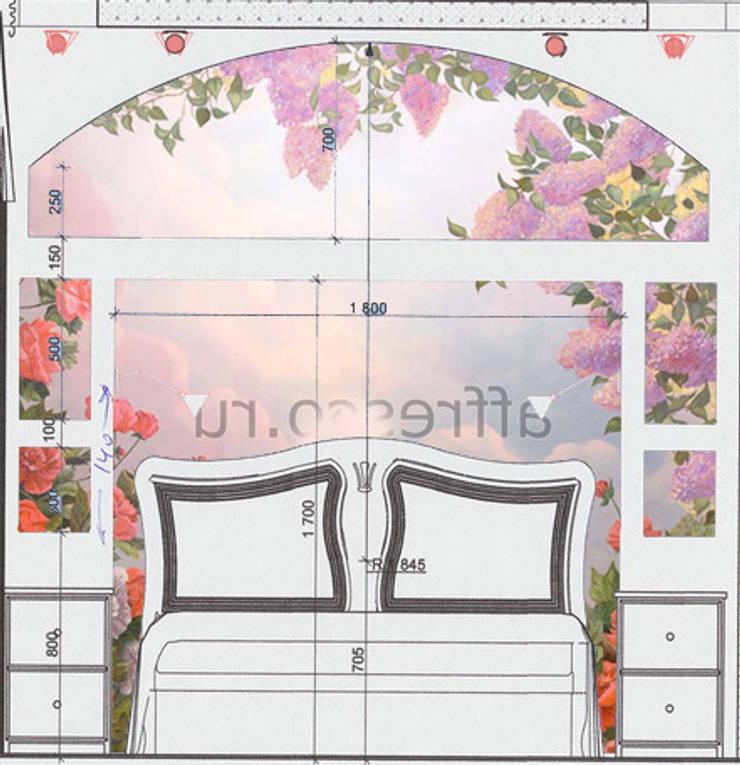 Разметка конструкции в изголовьи кровати, наложение изображения фрески:  в . Автор – МайАрт: ремонт и дизайн помещений,