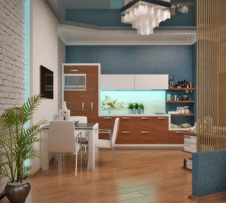 Интерьер в морском стиле - гостиная и кухня: Кухни в . Автор – Студия дизайна Interior Design IDEAS, Модерн