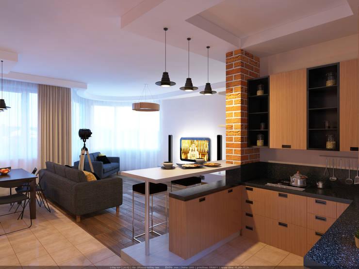Таун хаус в Сходне : Кухни в . Автор – МайАрт: ремонт и дизайн помещений