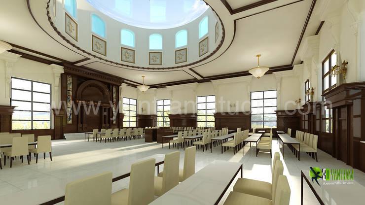 3D Interior Design Rendering for Comunity Hall:  Corridor, hallway & stairs by Yantram Architectural Design Studio