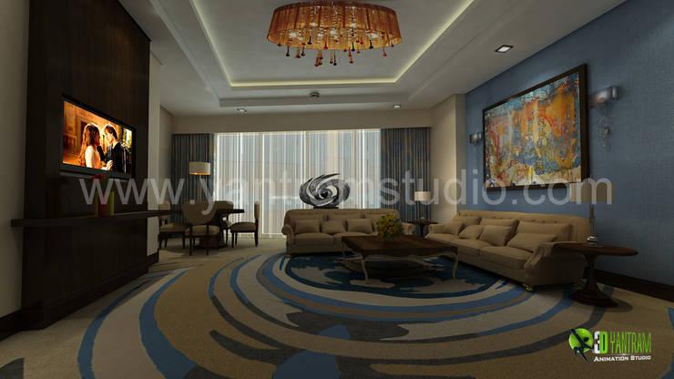 3D Interior Design Rendering for Hotel Room:  Bedroom by Yantram Architectural Design Studio