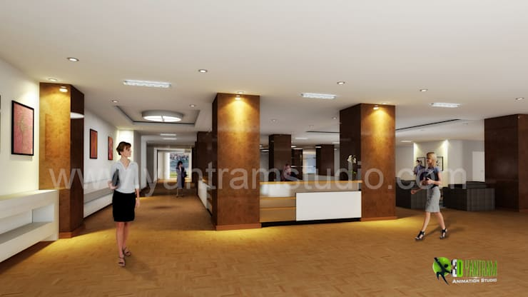 3D Interior Design Rendering for commercial office Reception:  Office spaces & stores  by Yantram Architectural Design Studio