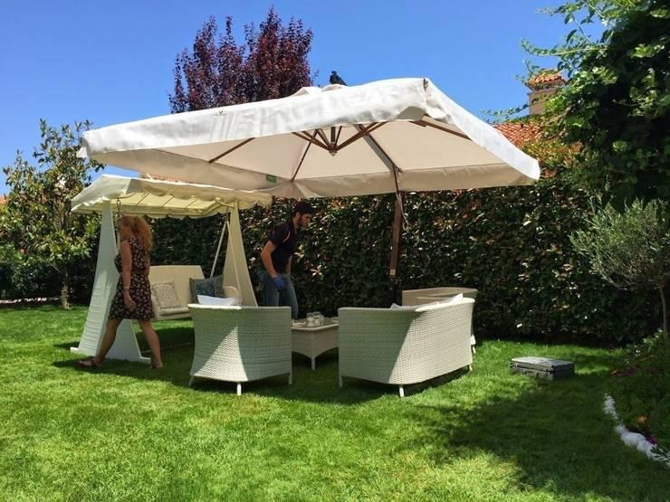 Akbrella Şemsiye San. ve Tic. A.Ş – 300x300cm Ahşap yandan gövdeli şemsiye:  tarz Bahçe