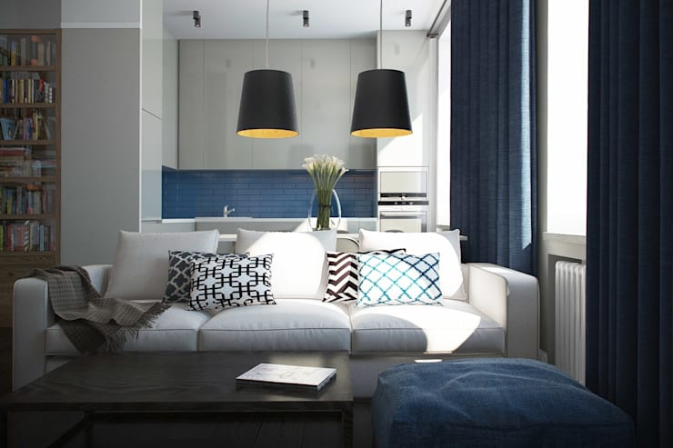 Дизайн квартиры г.Москва : Гостиная в . Автор – NK design studio