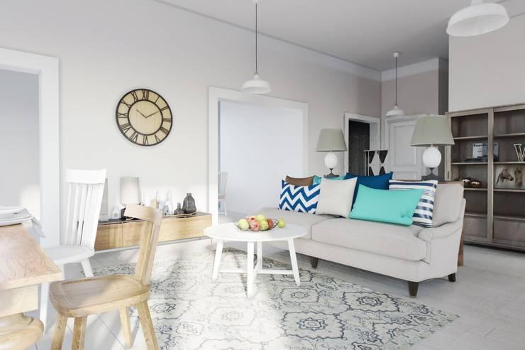 Дизайн дома в скандинавском стиле 160 м2 . Новосибирск: Гостиная в . Автор – NK design studio