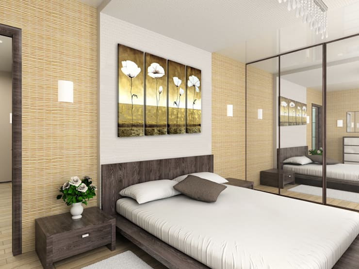 Quadri fiori: Camera da letto in stile  di BIMAGO.it