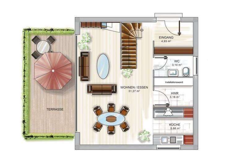 ICON CUBE Grundriss2: moderne Wohnzimmer von Dennert Massivhaus GmbH