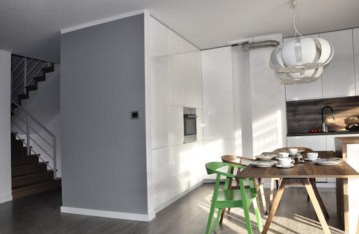 Mieszkanie dwupoziomowe w Kiełczowie: styl , w kategorii Kuchnia zaprojektowany przez Pracownia Kaffka