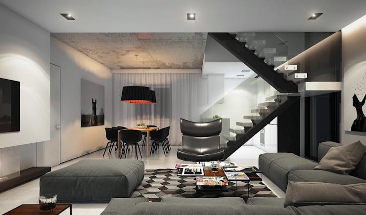 Загородный дом в Краснодаре: Гостиная в . Автор – NK design studio, Модерн