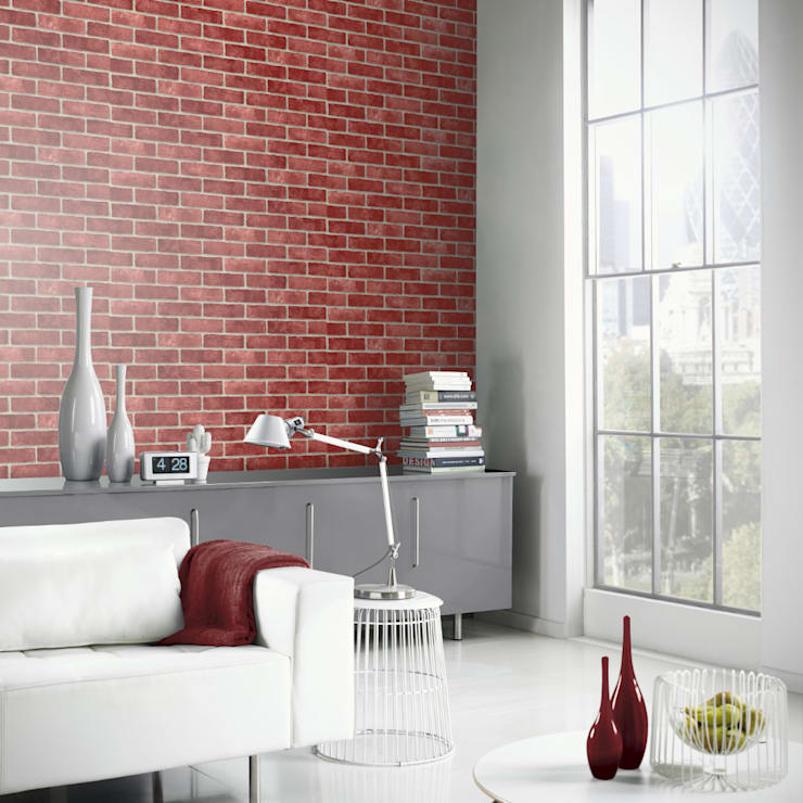 Arthouse VIP Red Brick Wall Pattern Faux Stone Effect Motif Mural Wallpaper 623006:  Walls & flooring by I Want Wallpaper