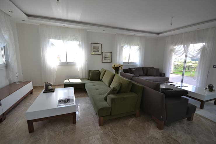 AKTİF PERDE – FETHİYE DE BİR VİLLA:  tarz Oturma Odası