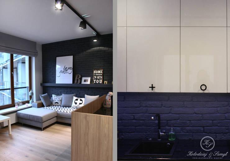GREY II: styl , w kategorii Salon zaprojektowany przez Kołodziej & Szmyt Projektowanie wnętrz