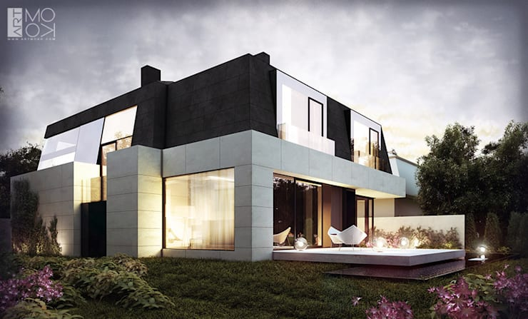 Rezydencja z licznymi przeszkleniami: styl , w kategorii Domy zaprojektowany przez Pracownia projektowa artMOKO
