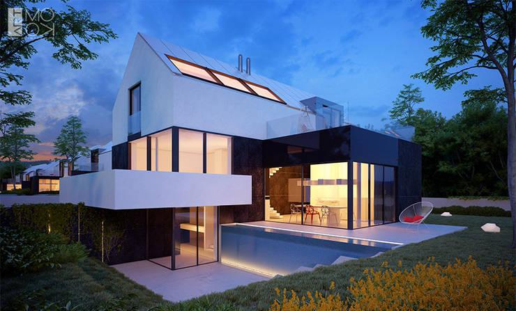 Nowoczesne połączenie domu z ogrodem: styl , w kategorii Domy zaprojektowany przez Pracownia projektowa artMOKO