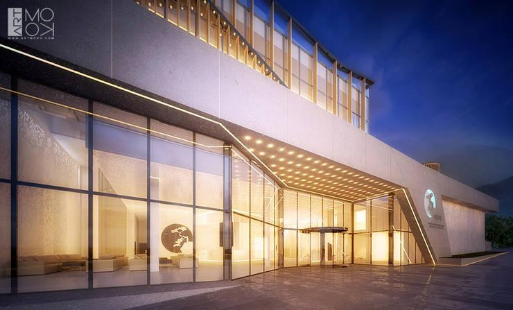 Nowoczesne wejście do hotelu: styl , w kategorii Hotele zaprojektowany przez Pracownia projektowa artMOKO