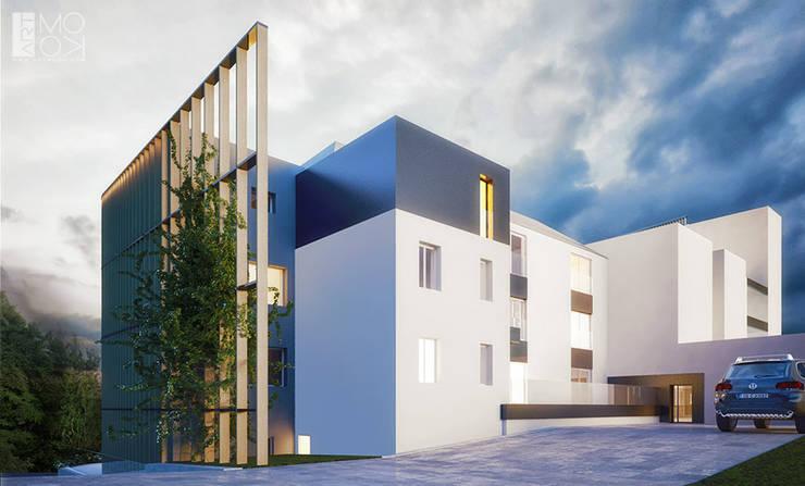 Elewacja hotelu po przebudowie: styl , w kategorii Hotele zaprojektowany przez Pracownia projektowa artMOKO