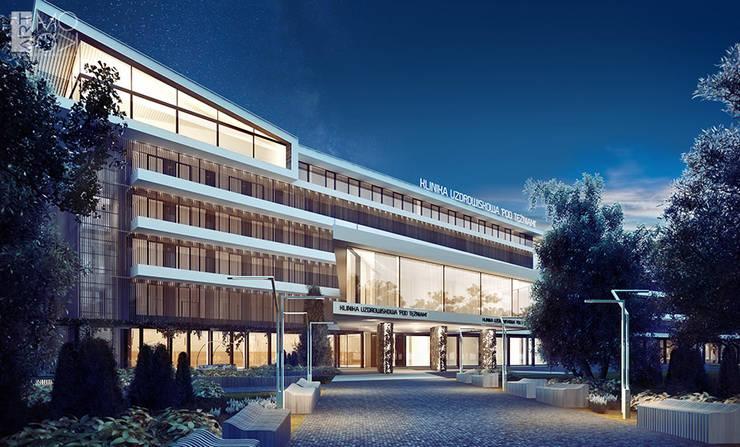 Elewacja kliniki po modernizacji: styl , w kategorii Kliniki zaprojektowany przez Pracownia projektowa artMOKO