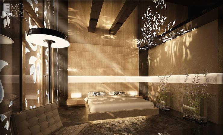 Sypialnia apartamentu hotelowego: styl , w kategorii Kliniki zaprojektowany przez Pracownia projektowa artMOKO