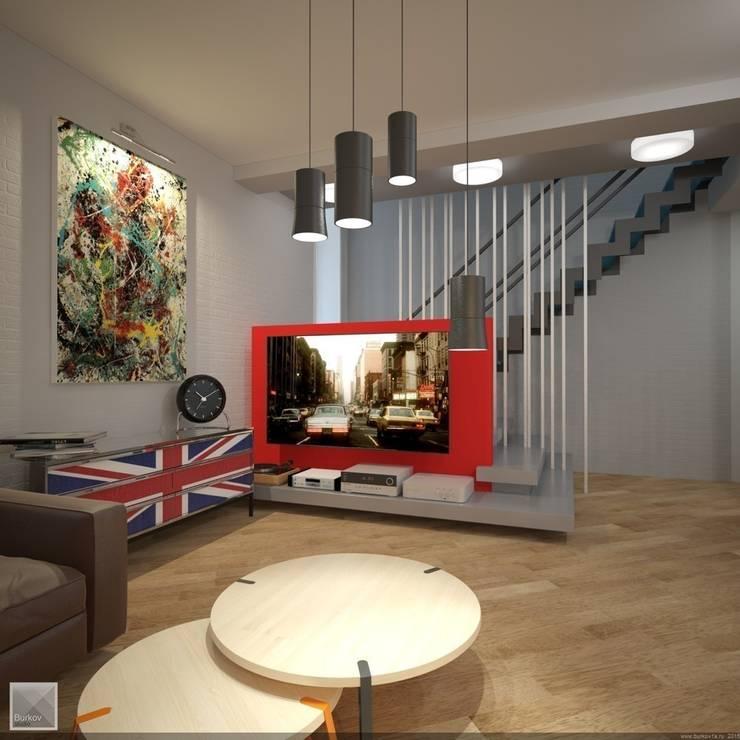 Интерьер гостиной: Гостиная в . Автор – Burkov Studio