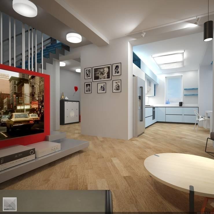 Вид кухни из гостиной: Гостиная в . Автор – Burkov Studio
