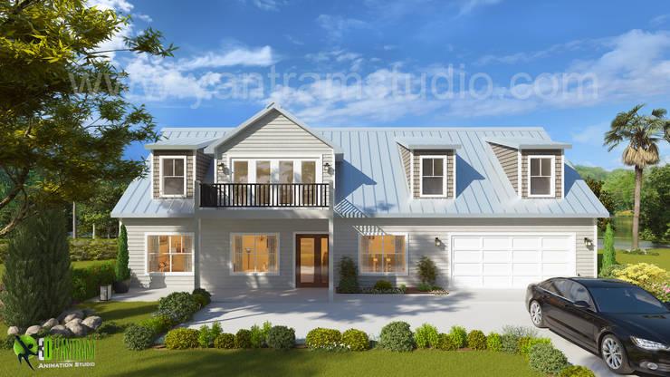3D Exterior House Design and Rendering:  Artwork by Yantram Architectural Design Studio