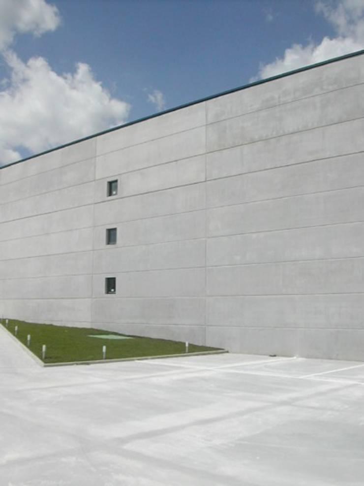 """NAVE INDUSTRIAL """"FELS"""". EL BOALO, MADRID. 2005: Espacios comerciales de estilo  de Bescos-Nicoletti Arquitectos"""