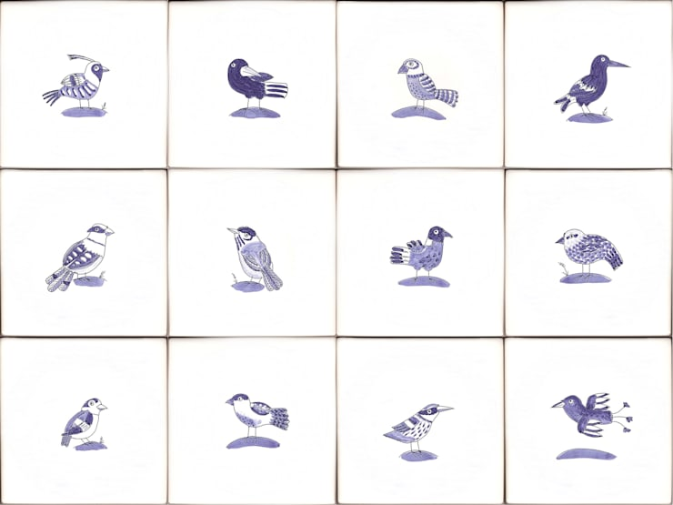 Bluebird tiles:  Walls & flooring by Reptile tiles & ceramics