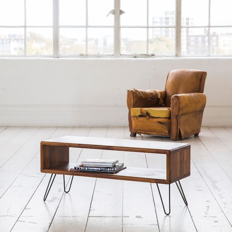 Midcentury Modern TV Stand / Credenza in iroko:  Living room by Biggs & Quail